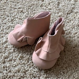 Janie and Jack pink leather booties